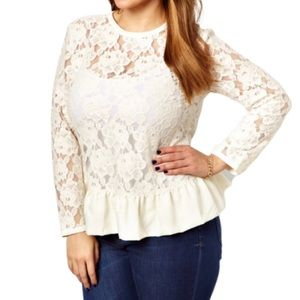 ASOS Curve | 20 Natural Heavy Peplum Top in Lace